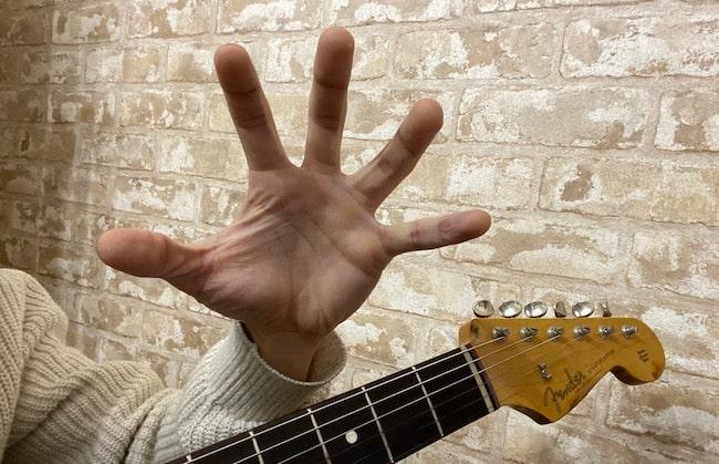 左手だけでバスケットボールを持つような手の形(開き)