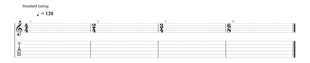 楽譜・TAB譜の読み方【拍子とリズムについて】